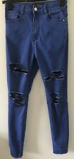 Ladies Blue Ripped Knee Skinny High Rise Super soft Jeans By Missguided Size 8
