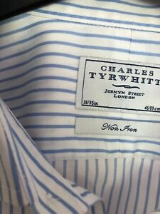 Charles Tyrwitt Mens Blue stripe Shirt 18/35 double cuff
