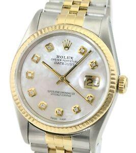 Rolex Mens Datejust 16233 Two-tone 36mm White MOP Diamond Dial  Gold Bezel Watch