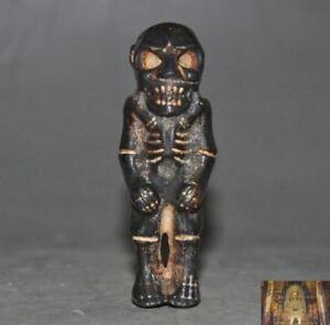Rare Hongshan culture Meteorite iron Carved Skull Dharma Buddha skeleton Stat
