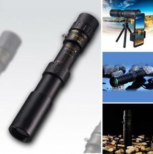 4K 10-300x40mm Super Telephoto Zoom Portable Monocular Telescope Outdoor Black