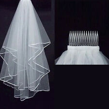 2016 New 2T 1.5M White Wedding Bridal Veil Elbow Length Satin Edge With Comb