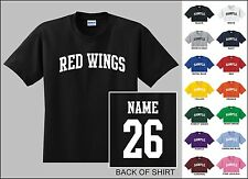 Red Wings Custom Name & Number Personalized Hockey Youth Jersey T-shirt