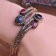 Women Vintage Bangle Red Water Drop Resin Resin Bracelet Crystal Turkish Jewelry