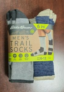 Eddie Bauer Men's 6 Pairs Trail Socks Arch Support size 6-12 Antimicrobial BLUE