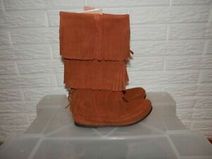 Minnetonka Moccasin Boots Indian Tribal Fringe Leather Brown Size 6
