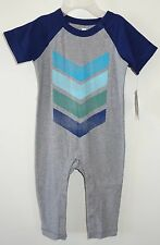 NWT Tea Collection Chevron Graphic Heather Gray Romper ~ Boy's Sz 0-3 Month