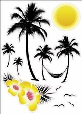 "Pre-Cut Seaside Hawaii Palm Tree Artwork Decor Wall Sticker Decal 15""W X 23""H"