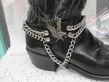Eagle Sliver Chain Boot Strap on Leather   Western Biker