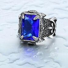 Blue Big Stone Ring For Man Stainless Steel Man's Classic Claw Punk Jewelry