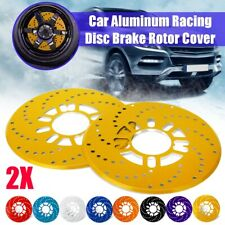2x Aluminium Car Wheel Disc Brake Rotor Cover Vehicle Decorative Cross Drilled