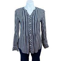 Croft & Barrow Women's Plaid Black & White Long Sleeve Blouse Top Petite Small