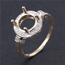 9MM Round Cut Solid 14K 2-Tone Gold Natural Diamond Semi Mount Ring Setting