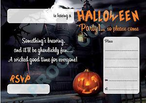 #62 HALLOWEEN Pack of 10 pumpkin kids children birthday party INVITATIONS