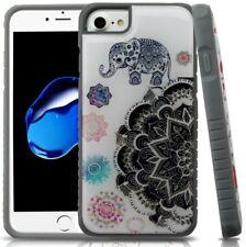 iPhone 6/7/8+/XS Max - Hybrid Hard Armor Case Cover Gray Mandala Flower Elephant