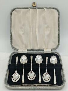 "Set 6 Art Deco Style Silver Demitasse Coffee Spoons, Duncan & Scobbie B""ham 1962"
