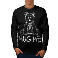 Wellcoda Hug Me Teddy Bear Mens Long Sleeve T-shirt, Nice & Graphic Design