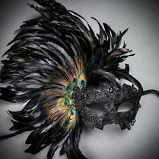 Black Venice Carnival Feather Women Mask Masquerade Venetian Mardi Gras Costume