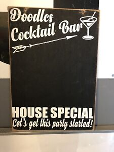 Personalised Cocktail Bar Drink Novelty Gift Wooden Hanging Sign Chalk Board