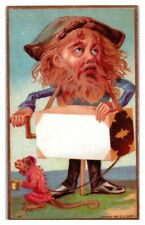 1881 Organ Grinder and Monkey with Cup Victorian Trade Card