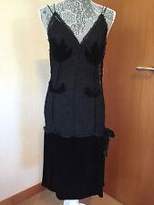 Sonia Rykiel Lace Black 100% Silk Evening Night Dress Clothes - Size 42 - France