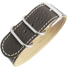 22mm Fluco Germany 1-Piece Mens Brown Leather UTC Military G10 Watch Band Strap