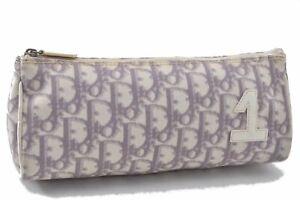 Authentic Christian Dior Trotter Pouch PVC Enamel Purple White B3522