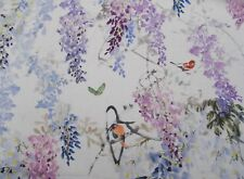 Sanderson Curtain Fabric 'WISTERIA FALLS' 0.7 METRES Amethyst - 100% Linen
