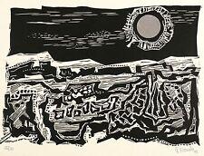 RUDOLF FRANKE - Garten - Mondnacht - Linolschnitt & Collage 1968