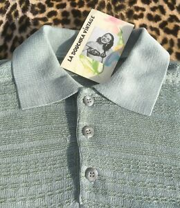 FRENCH VINTAGE MEN POLO SHIRT ~GREEN COTTON TEXTURED KNIT~ MADE IN FRANCE~MINT~L