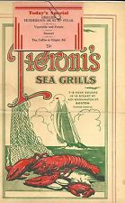 Vintage Boston Pieroni's Sea Grill Menu - 1942