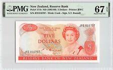 New Zealand ND (1985-89) P-171b PMG Superb Gem UNC 67 EPQ 5 Dollars