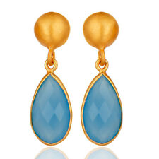 18K Gold Plated Silver Blue Chalcedony Handmade Earrings Womens Jewelry