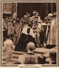 CORONATION 1937. Swearing fealty to King George VI. Homage 1937 old print