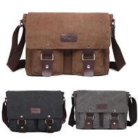 Men Vintage Canvas Leather Satchel School Military Shoulder Laptop Messenger Bag