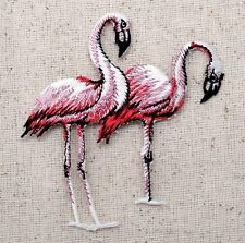 Iron On Embroidered Applique Patch Pink Flamingo Flamingoes 692723B