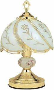Decorative Gold Flower Touch Table Lamp Vintage Bedroom Desk 3-Way Sensor 14in