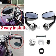 Black Handle Bar End Rearview Mirrors FOR Honda CBR1000RR CBR600RR / Suzuki GSXR
