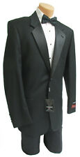 42R New Men's Black Armanno Tuxedo with Pants Wedding Prom Mason Cruise 36 Waist