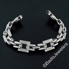New Mens 14K White Gold Fancy Textured Square Oval Link Bracelet w/ Onyx Accents