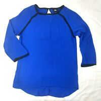 Mossimo Womens Blouse Top Shirt Sz XS Sheer Chiffon Blue Black Trim 3/4 Sleeve