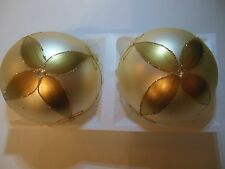 Vintage Poland Large Glass Christmas Ornaments Set Of 2 In Box Gold