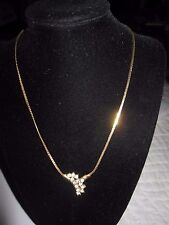 Nice Gold Tone Necklace Chain with Rhinestone Pendant