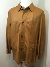 Men's BRUNO MAGLI Leather Soft Brown Buttons Jacket Coat Blazer Size US 42 RARE