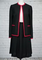 Vintage Windsmoor Black Red Pleated Skirt Boxy Jacket Suit Size 8 10 Midi Flippy