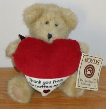 Boyds Bears MANNY THANKS Bear w/Heart TAG Thank you from the bottom of my heart
