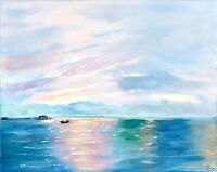 California Malibu Beach Painting Seascape Original Canvas Art Impasto 16 by 20