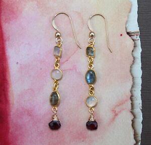 Garnet Labradorite Moonstone Long Linear 14 kt Gold Fill Handcrafted Earrings