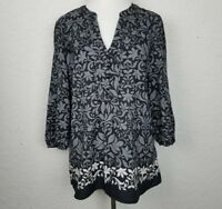 Ann Taylor LOFT Women top size M floral blouse v-neckline black long sleeves