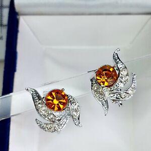 Vintage Sparkly Swirl Diamante Clip On Earrings, Silver Tone Retro 50s 60s
